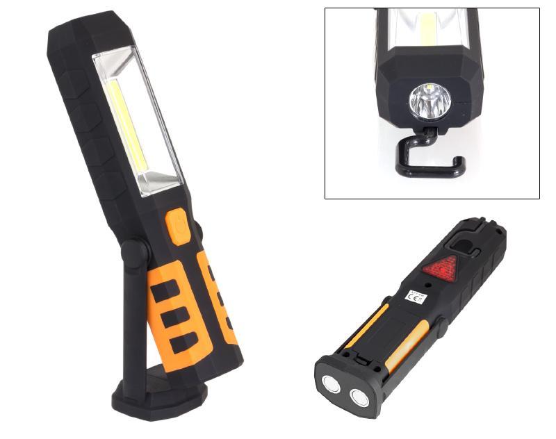 edc9ad528 AG121D LED svítilna plastová pracovní, 3W COB LED + 1x LED, nabíjecí
