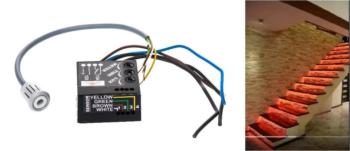 LED21 Pohybové a soumrakové čidlo PIR pro spínání schodišťových ovladačů