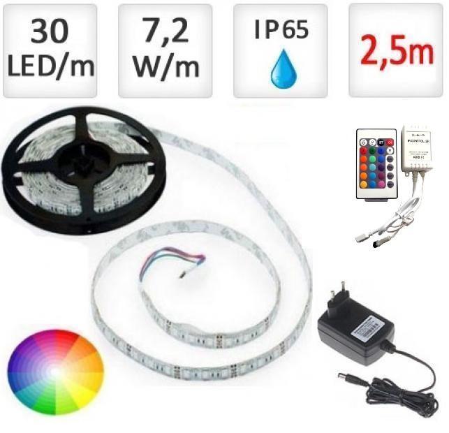 LED21 LED pásek 2,5m RGB 5050, 30 LED/m, 18W, IP65, sada + Akční sleva!