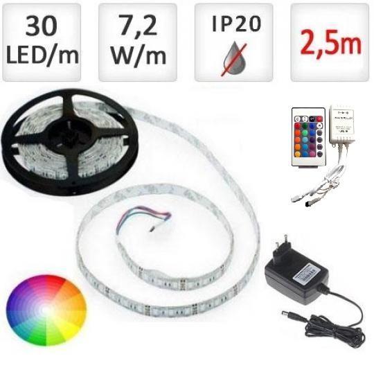 LED21 LED pásek 2,5m RGB 5050, 30 LED/m, 18W, IP20, sada