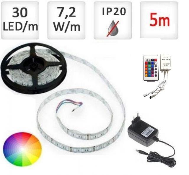 Berge LED pásek 5m RGB 5050, 30 LED/m, 36W, IP20, sada