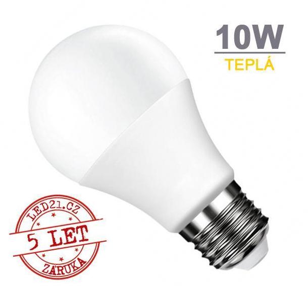 LED21 LED žárovka E27 10W SMD2835 820 lm CCD Teplá bílá + Cena v akci