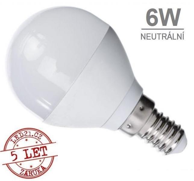 LED21 LED žárovka 6W 12xSMD2835 480lm E14 Neutrální bílá