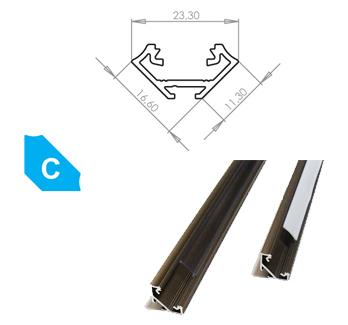 LEDLabs Hliníkový profil LUMINES C 1m pro LED pásky, eloxovaný inox