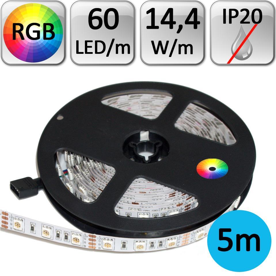 LED21 LED pásek RGB 5050 5m 14,4W/m 60LED/m IP20