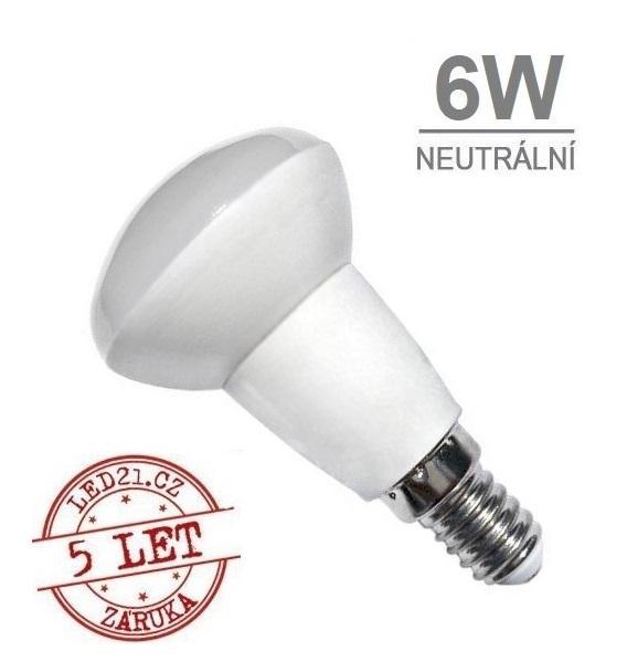LED21 LED žárovka 6W E14 450lm R50 NEUTRÁLNÍ BÍLÁ