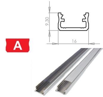 LEDLabs Hliníkový profil LUMINES A 2m pro LED pásky, hliník