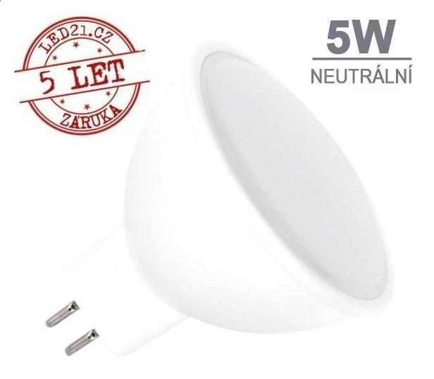 LED21 LED žárovka 5W GU5.3 12V DC 320lm Neutrální bílá