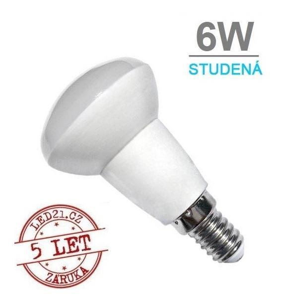 LED21 LED žárovka 6W E14 450lm R50 STUDENÁ BÍLÁ