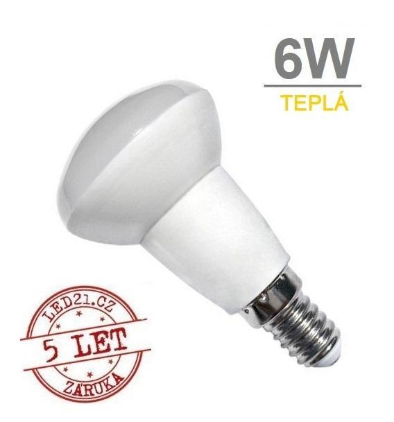 LED21 LED žárovka 6W E14 450lm R50 TEPLÁ BÍLÁ