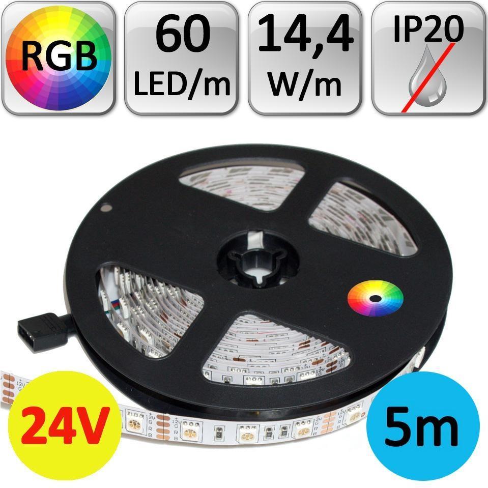 LED21 LED pásek 24V RGB 5050 5m 14,4W/m 60LED/m IP20