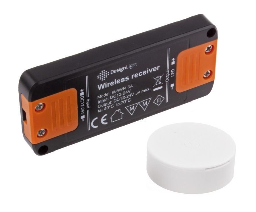 LED21 Sestava RF dotykového spínače se stmívačem pro jednobarevné LED pásky a žárovky 8A, BÍLÝ