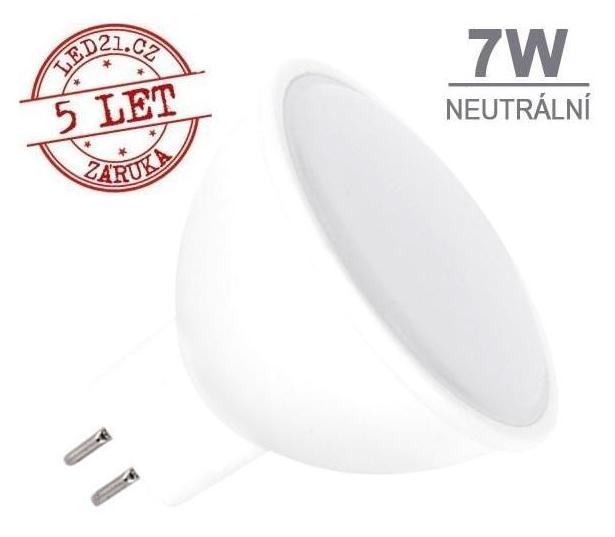 LED21 LED žárovka 7W GU5.3 500lm 12V DC Neutrální bílá