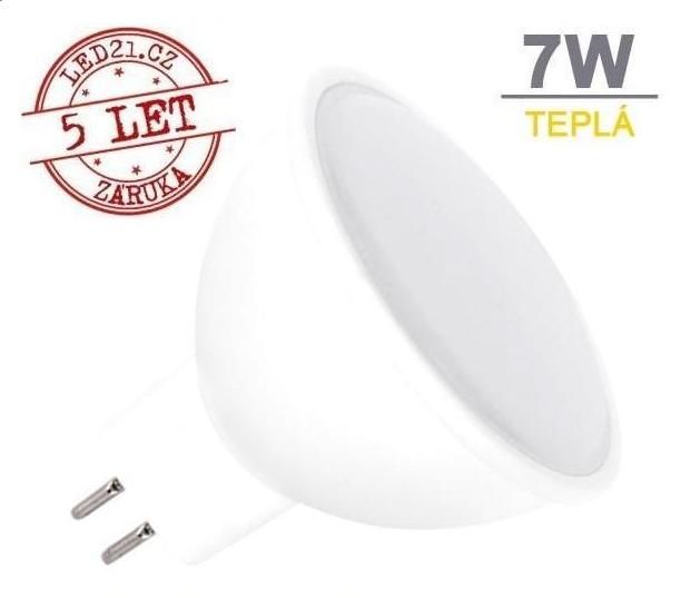 LED21 LED žárovka 7W GU5.3 500lm 12V DC Teplá bílá