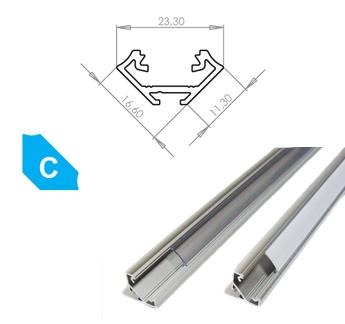 LEDLabs Hliníkový profil LUMINES C 2m pro LED pásky, eloxovaný stříbrný