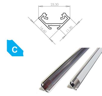 LEDLabs Hliníkový profil LUMINES C 1m pro LED pásky, hliník