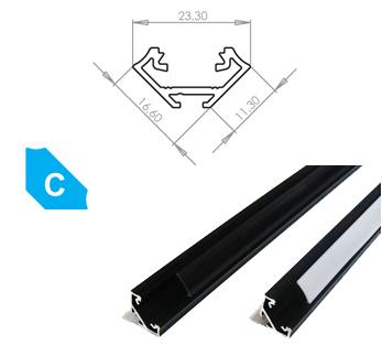 LEDLabs Hliníkový profil LUMINES C 1m pro LED pásky, eloxovaný černý