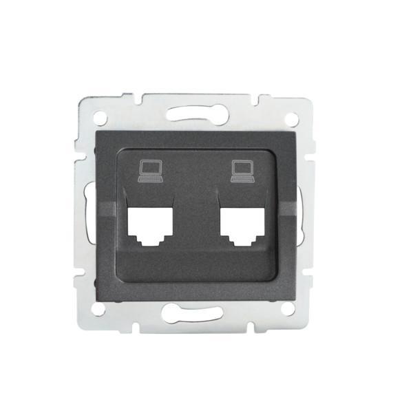 Kanlux 25939 LOGI Adaptér datové zásuvky 2xRJ45 - grafit