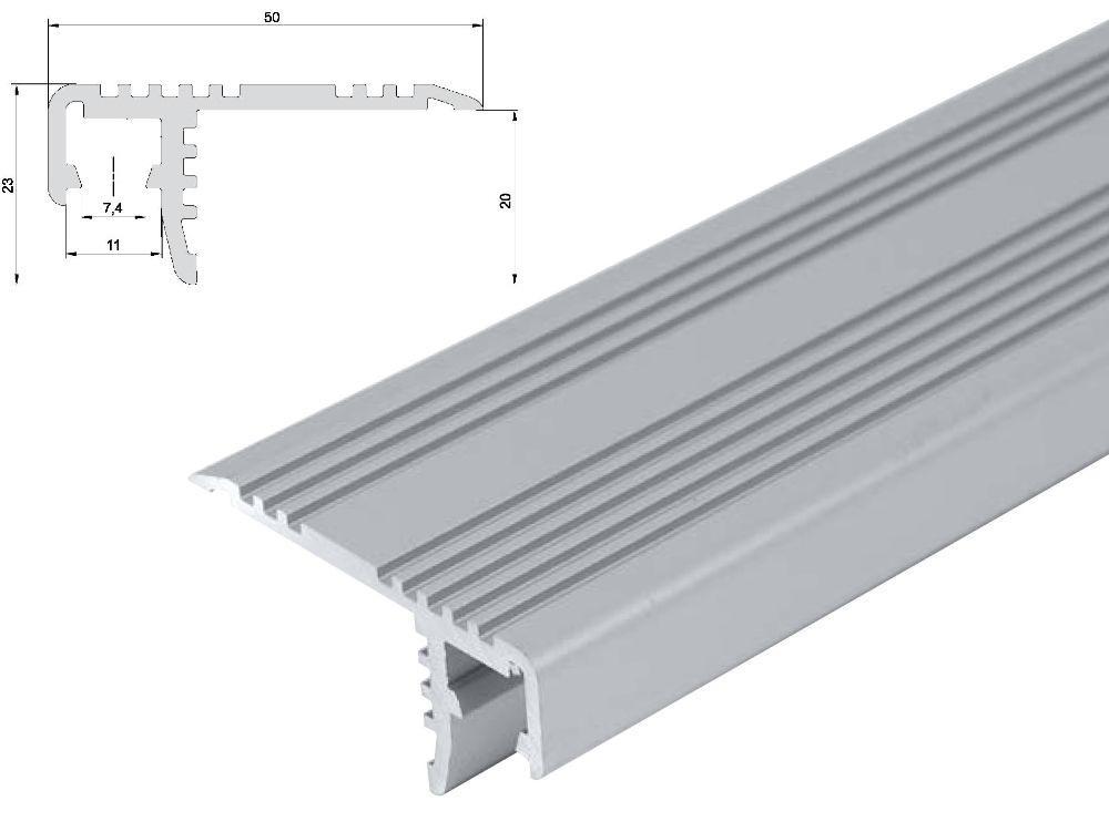 T-LED Hliníkový profil schodišťový ST 1m pro LED pásky, eloxovaný stříbrný