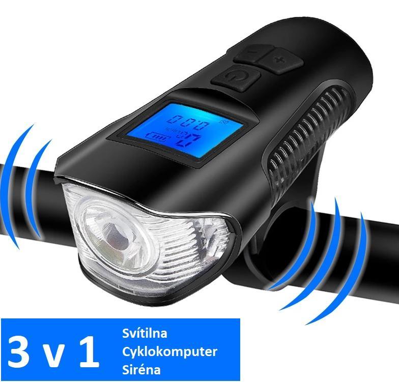 LED21 Svítilna na kolo 3v1 s cyklopočítačem a klaksonem, USB nabíjení