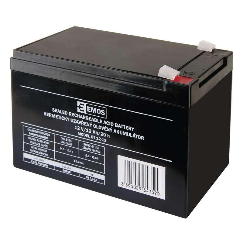 Emos Bezúdržbový olověný akumulátor 12 V/12 Ah, faston 6,3 mm B9656
