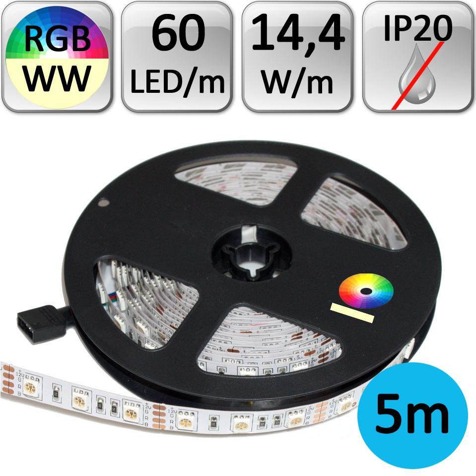 LED21 LED pásek RGB+WW teplá bílá 5m 14,4W/m 60LED/m