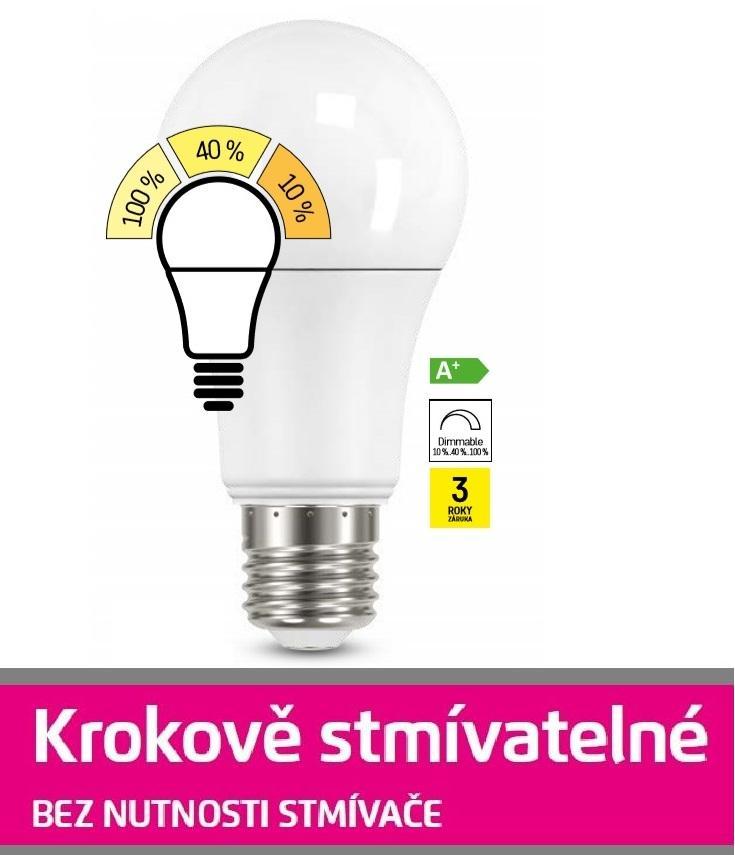 Emos LED žárovka Classic A60 9W E27 teplá bílá, krokově stmívatelná ZQ5140W