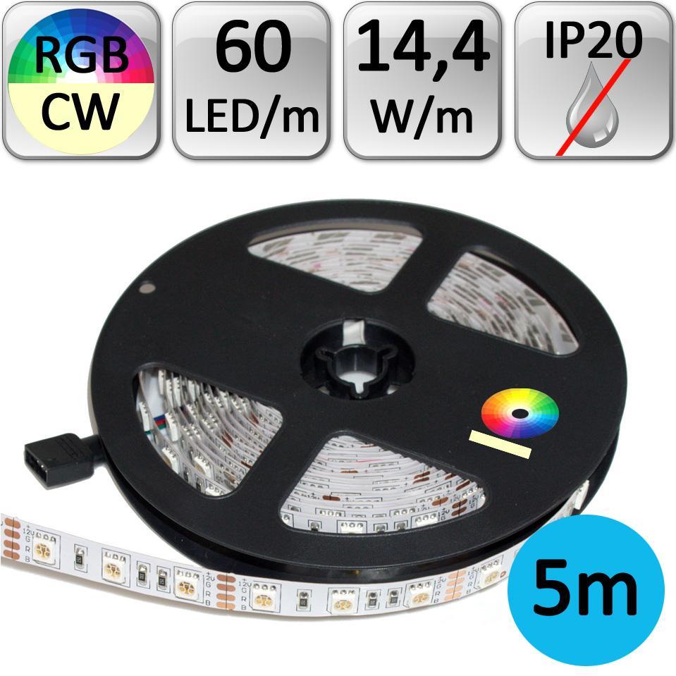 LED21 LED pásek RGB+CW studená bílá 5m 14,4W/m 60LED/m 5050 IP20