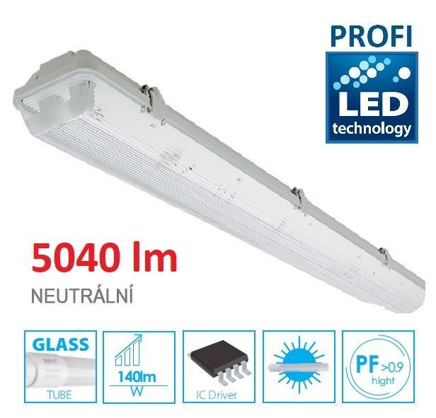 LED21 KOMPLET PROFI Prachotěsné svítidlo +2 LED trubice T8 36W 5040lm 120cm Neutrální bílá TRU31062NW