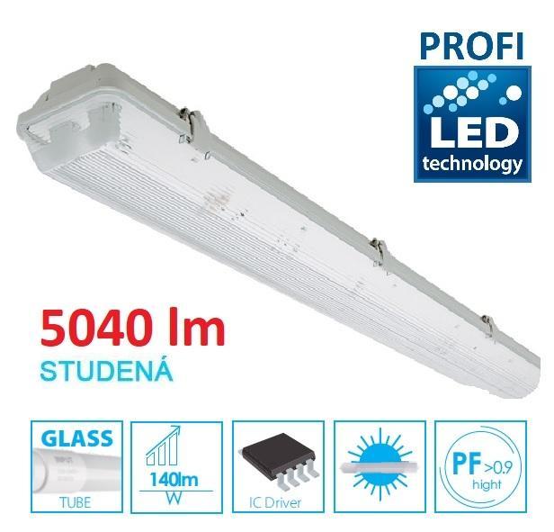 LED21 KOMPLET PROFI Prachotěsné svítidlo +2 LED trubice T8 36W 5040lm 120cm Studená bílá TRU31062CW