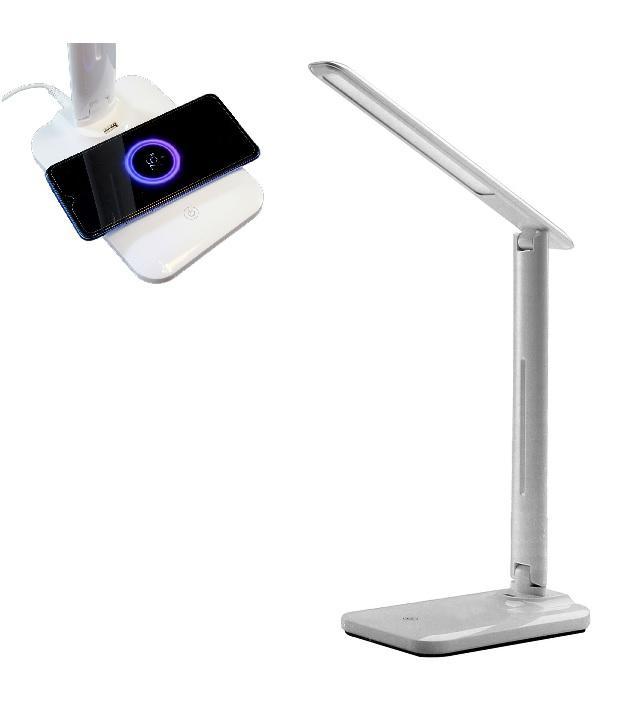 LED21 LED stolní lampička s bezdrátovou QI nabíječkou , CCT volba teploty světla, USB, bílá