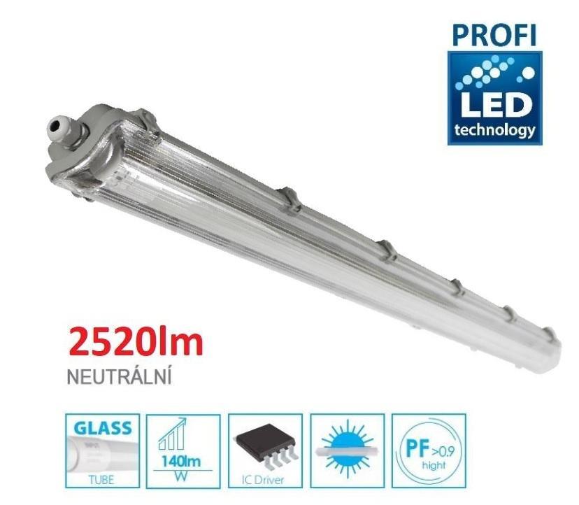 LED21 KOMPLET PROFI Prachotěsné svítidlo +1 LED trubice T8 18W 2520lm 120cm Neutrální bílá TRU7926064