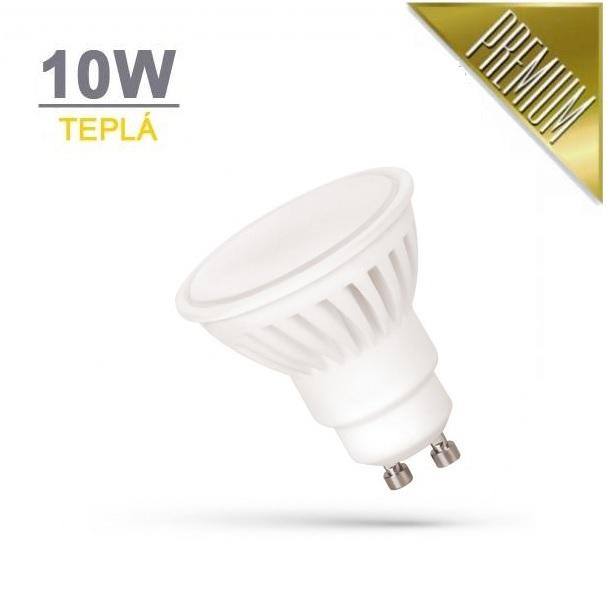 LED21 LED žárovka PREMIUM 10W 18xSMD2835 GU10 910lm TEPLÁ BÍLÁ
