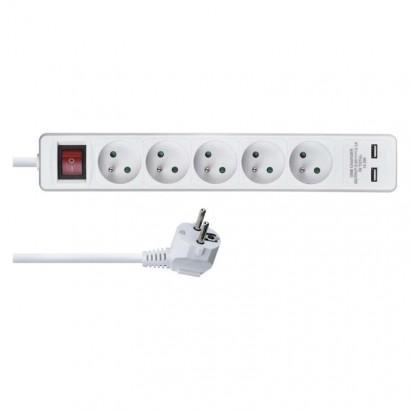 Emos Prodlužovací kabel s vypínačem – 5 zásuvek, 3m, bílý, 2× USB P1513RU