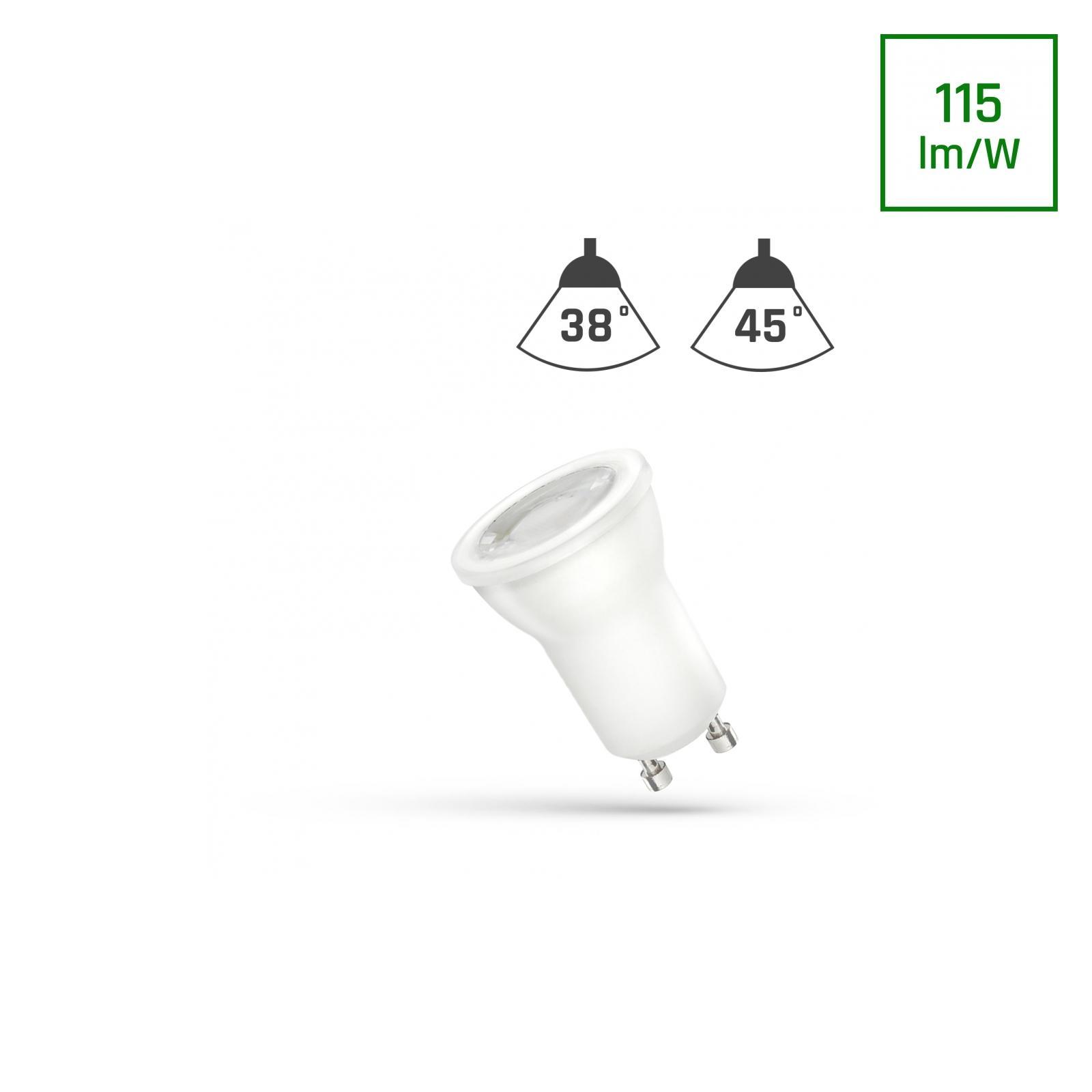 LED MR11 GU10 230V 2W SMD 45ST Teplá bílá s čočkou SPECTRUM