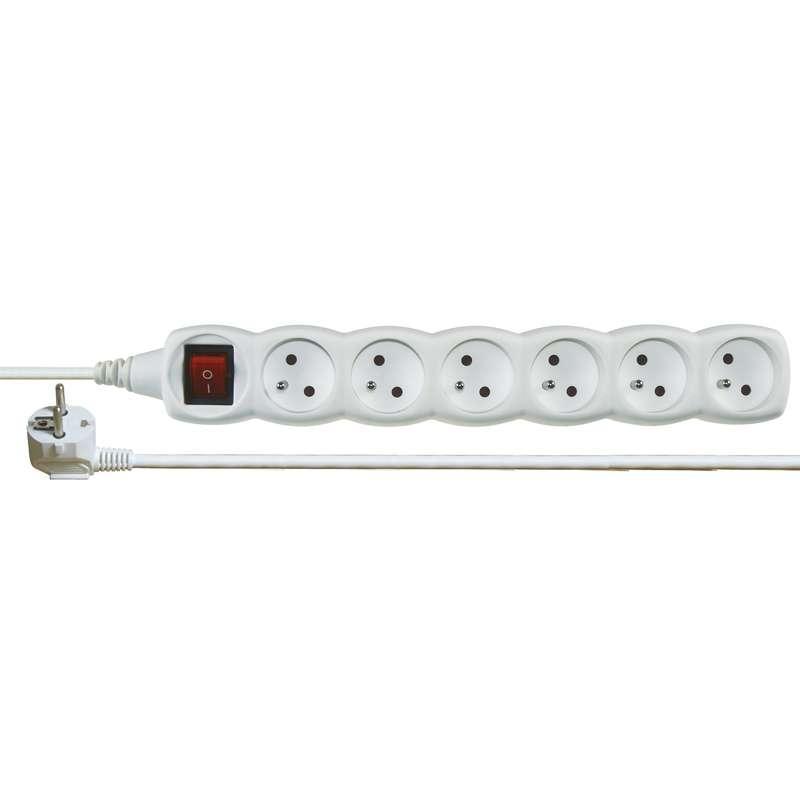 Emos Prodlužovací kabel s vypínačem – 6 zásuvky, 2m, bílý P1612