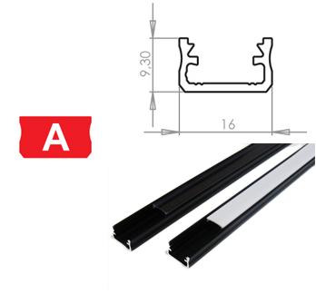 LEDLabs Hliníkový profil LUMINES A 3m pro LED pásky, černý