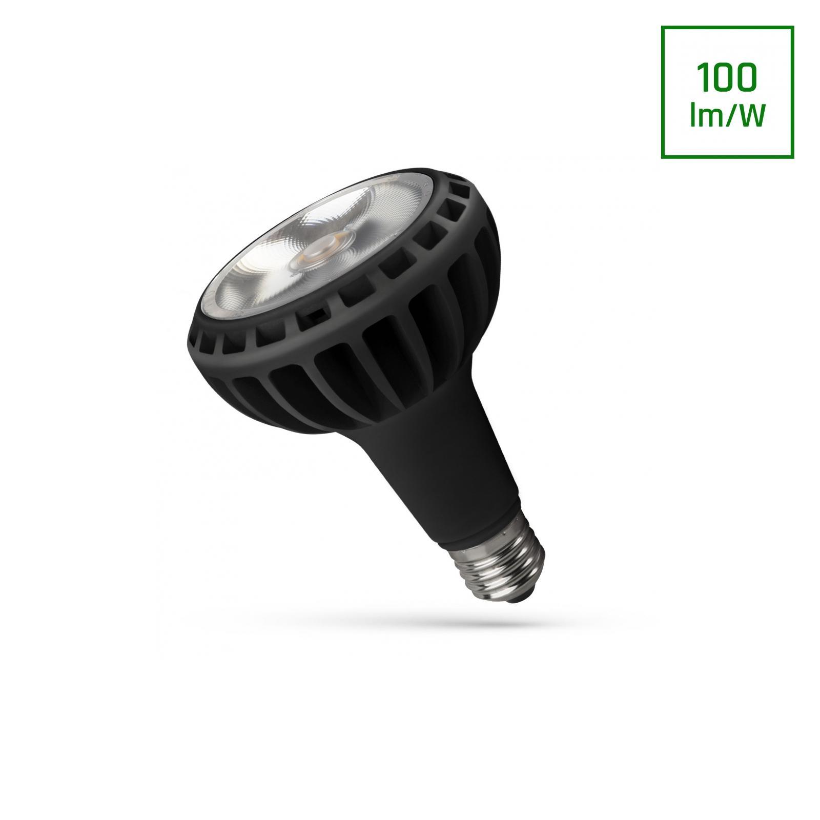 LED PAR30 E27 230V 20W COB 24ST Teplá bílá Černá SPECTRUM
