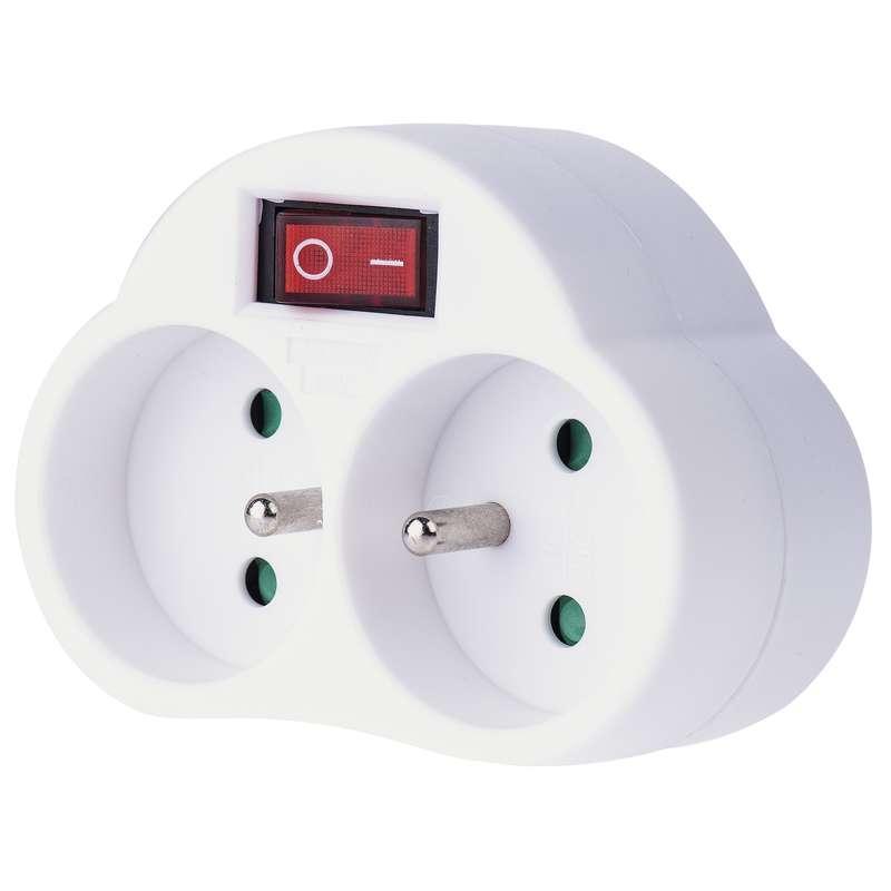 Emos Rozbočovací zásuvka 2× kulatá s vypínačem, bílá P0062
