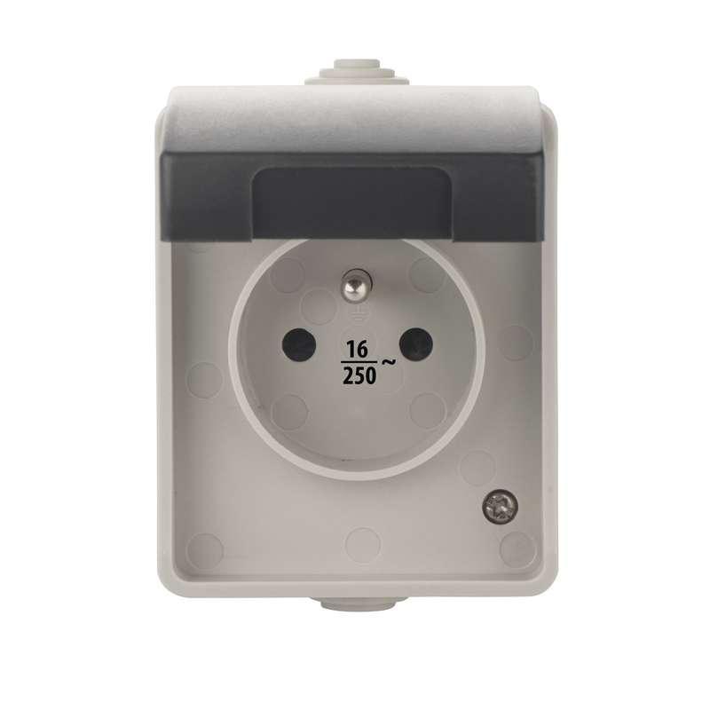 Emos Zásuvka nástěnná, šedo-černá, IP54 A1397