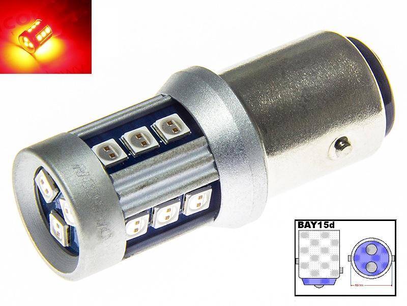 LED21 LED auto žárovka 12V 24V BAY15D 15 SMD 3030 P21/5W Dvouvláknová Červená