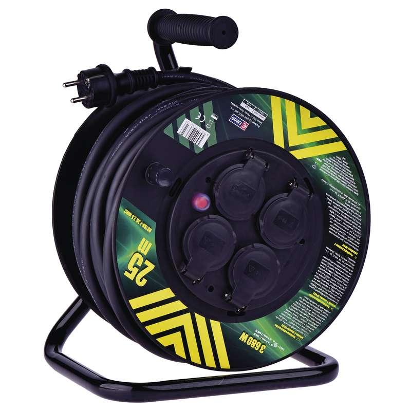 Emos Gumový prodlužovací kabel na bubnu – 4 zásuvky, 25m, 2,5mm2 P084253