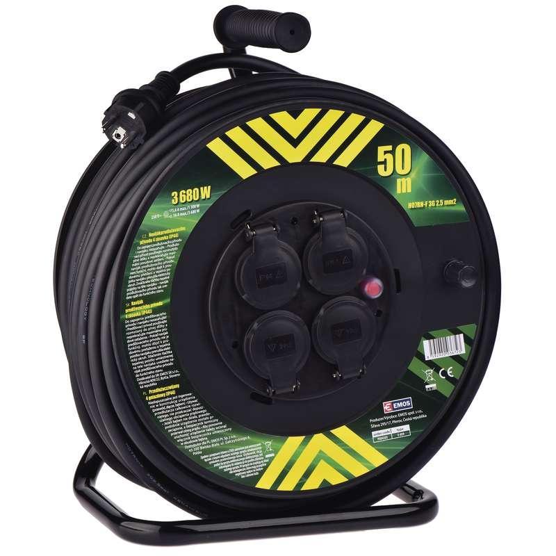 Emos Gumový prodlužovací kabel na bubnu – 4 zásuvky, 50m, 2,5mm2 P084503