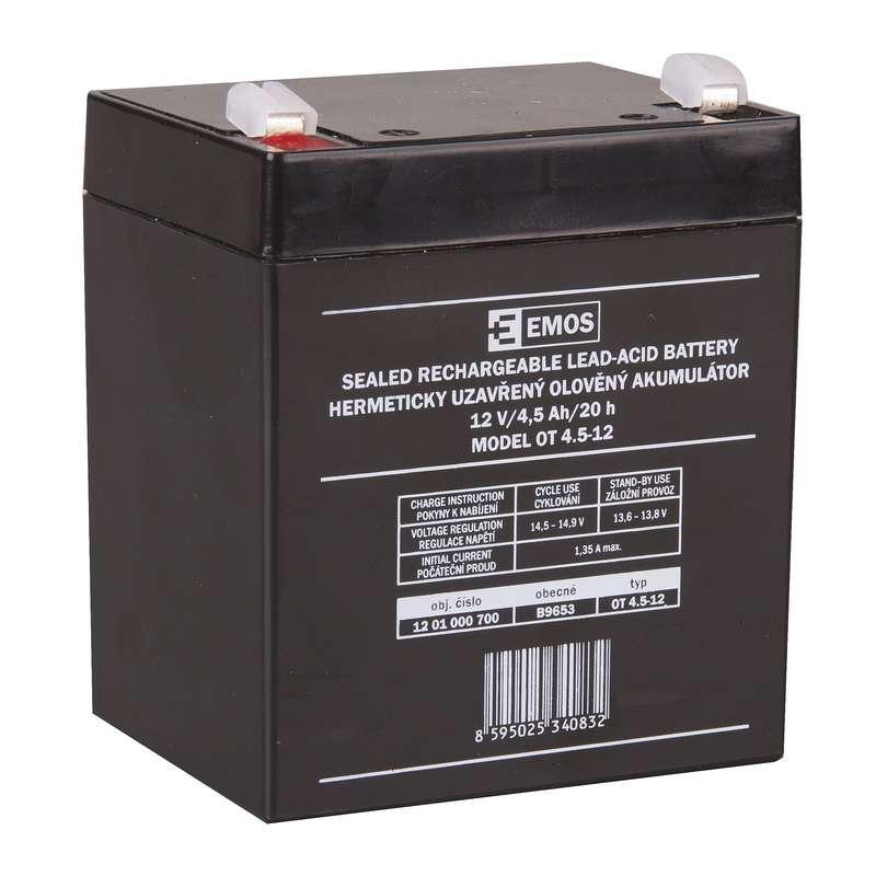 Emos Bezúdržbový olověný akumulátor 12 V/4,5 Ah, faston 4,7 mm B9653