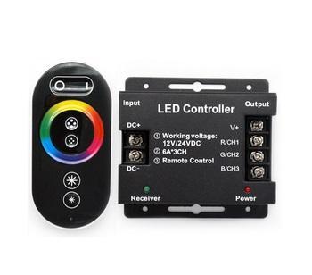 Berge RGB kontroler pro LED pásky 216W 18A, dotykové dálkové RF ovládání