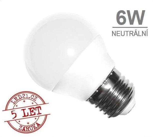 LED21 LED žárovka 6W 12xSMD2835 480lm E27 Neutrální bílá