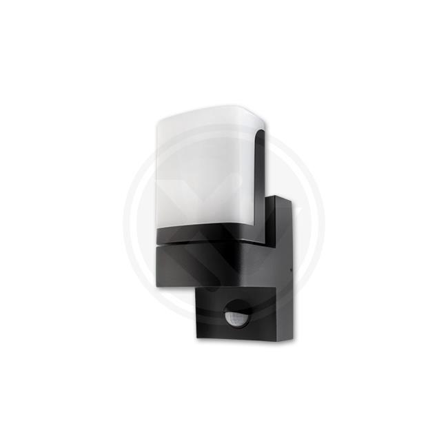 LED21 Přisazené nástěnné venkovní LED svítidlo Veroni 7,5W s PIR čidlem, 380lm, černé, Neutrální bílá V6996