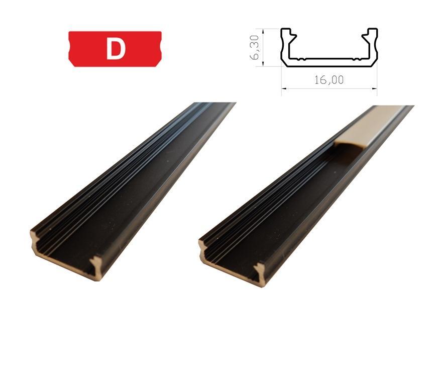 LEDLabs Hliníkový profil LUMINES D 2m pro LED pásky, černý