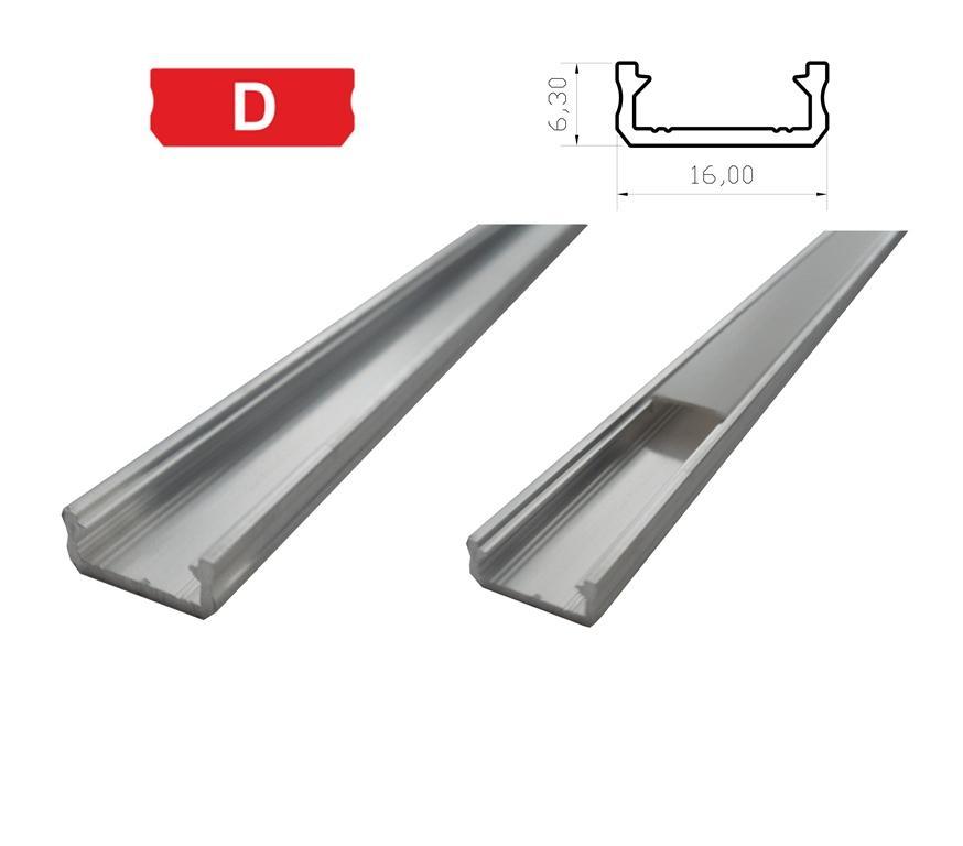 LEDLabs Hliníkový profil LUMINES D 2m pro LED pásky, hliník