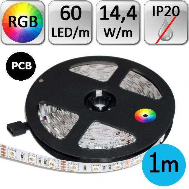 LED21 LED pásek 1m RGB 3535 černé PCB 14,4W/m 60LED/m IP20